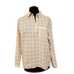 The North Face Plaid Pullover Henley Blouse L